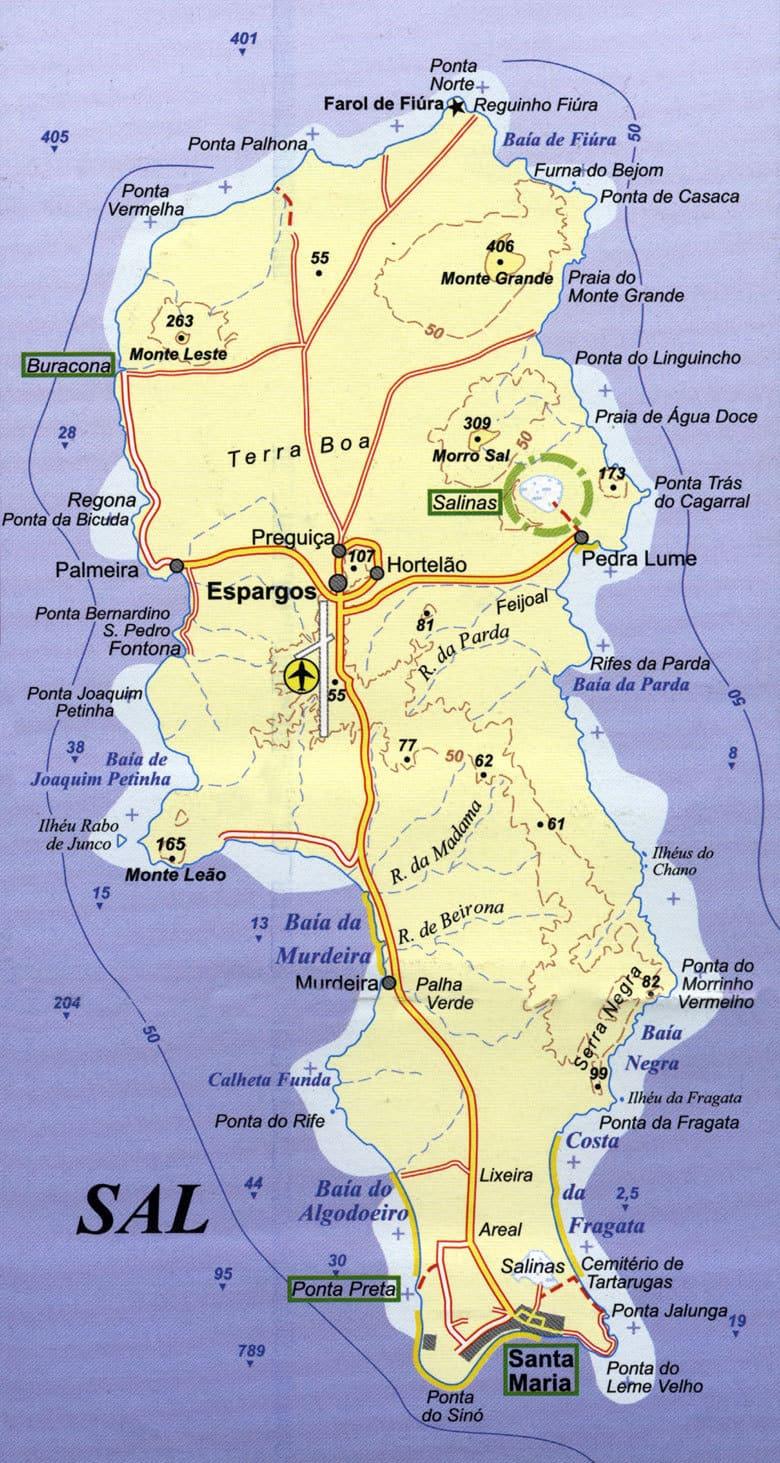 Mapa ostrova Sal